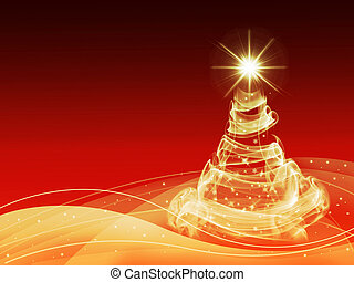abstract gold christmas three on red background