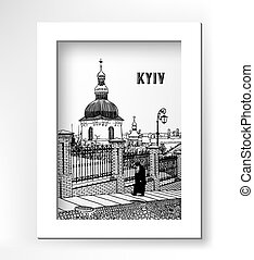 drawing of historical building landscape ukrainian church -...