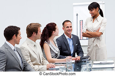 Smiling businessman in a presentation