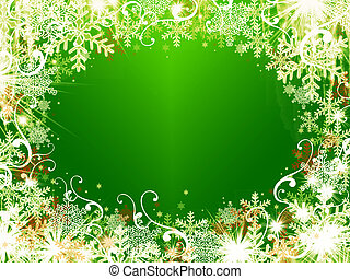 abstract gold christmas wishes on green background