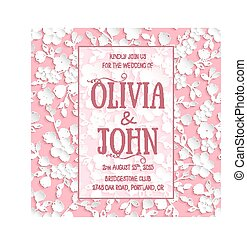 Wedding invitation card. Vector invitation card with sakura...