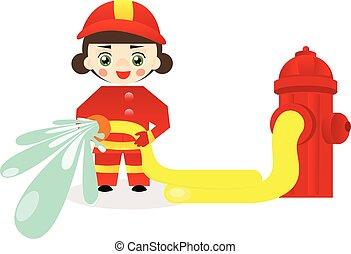 Little firefighter girl - Vector illustration of cute little...