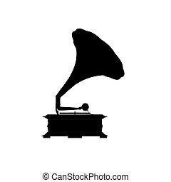 Black silhouette of the gramophone on a white