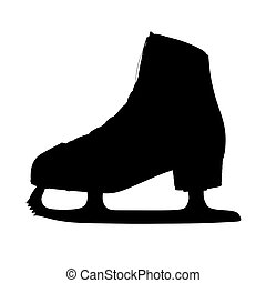 Classic ice skate for ladies black silhouettes on a white