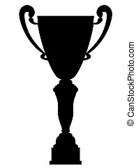 Cup winner silhouette on a white background
