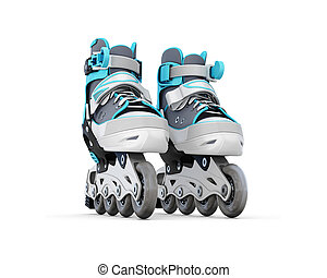 Roller skate close-up isolated on white background 3d...