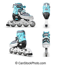 Roller skate from different angles isolated on white...