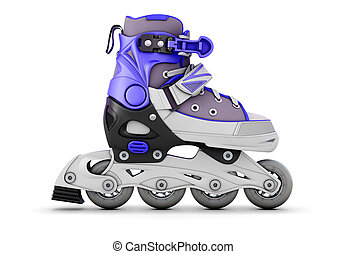 Roller skate side view isolated on white background 3d...