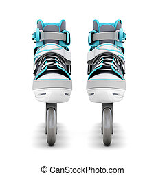 Roller skates front view isolated on white background 3d...