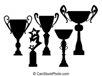 Trophy silhouette set on a white background