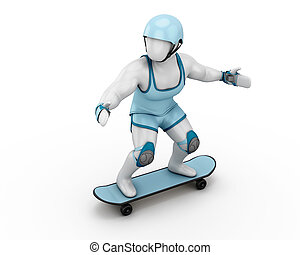 White man of skateboard with riot gear on a white...
