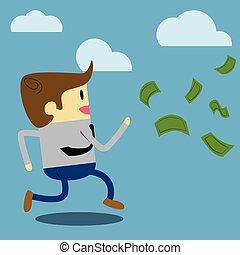 Businessman running after money