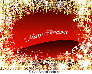 abstract gold christmas wishes on red background