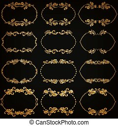 Vector set of gold decorative borders