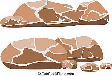 Vector illustration of the big and small rocks on a white background