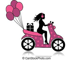 woman on a motorcycle - silhouette of a woman on a...