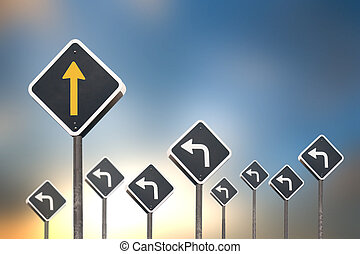 different way concept by traffic sign