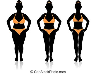 female silhouette in a bathing suit at a different weight...