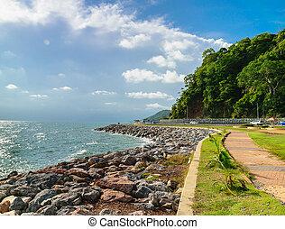 Walkway along the Coastal road in Chantaburi Province,...