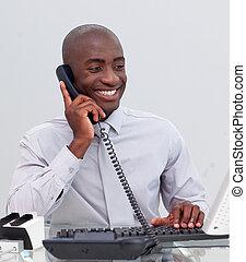 Afro-américain, homme affaires,...