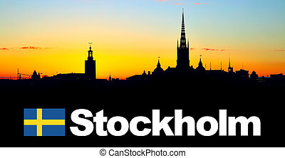 Stockholm - Silhouette of Old Town of Stockholm with...