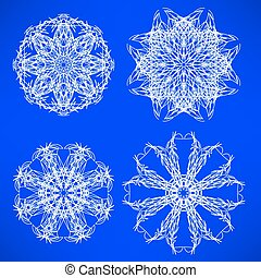 Snow Flakes - Abstract Geometric Snow Flakes Set Isolated on...