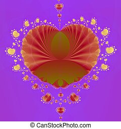 Heart on Lilac - Computer generated fractal image with a...