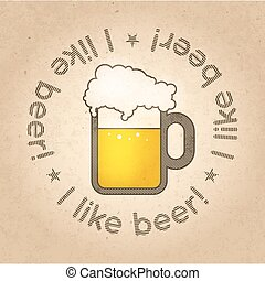 vector illustration for pint of beer - Pint of Beer concept...