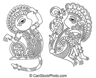 line art drawing set of ethnic two monkey in decorative...