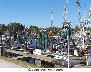 Commercial Fishing Boats - Shrimp boats with nets and other...