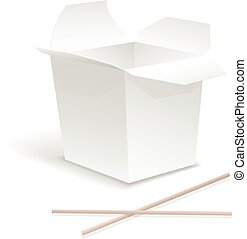 Chinese food opened white take out noodle box. Container for...