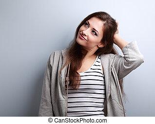 pensamiento, hermoso, joven, mujer, tenencia, el, cabeza, y,...