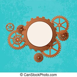 Steampunk banner - Vector industrial background in the style...