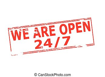 We are open - Rubber stamp with text we are open inside,...