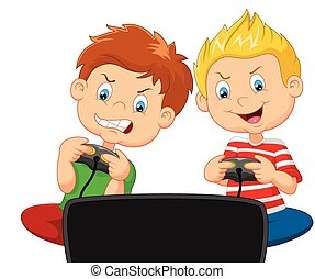Little boys cartoon playing video g - Vector illustration of...