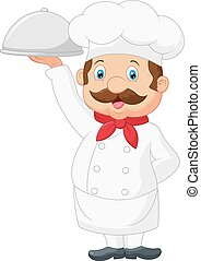 Cartoon Chef cook is service