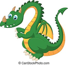 Cartoon funny green dragon - Vector illustration of Cartoon...