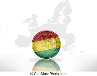 euro coin with bolivian flag on the european union map...
