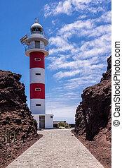 Lighthouse Faro de Punta de Teno on shore of the Atlantic...