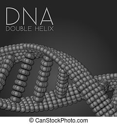 Chain of spheres with soft shadows in form of helix. Abstract geometric background. Protein chain or DNA helix.
