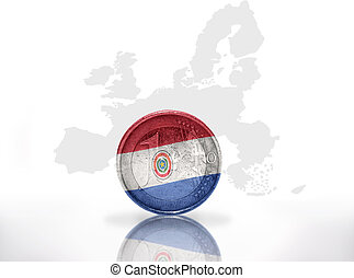 euro coin with paraguayan flag on the european union map...