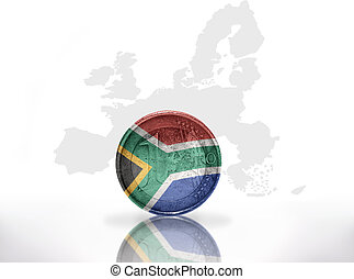 euro coin with south africa flag on the european union map...