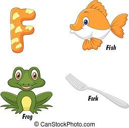 Cartoon F alphabet - Vector illustration of Cartoon F...