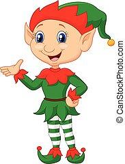 Cartoon green elf presenting - Vector illustration of...