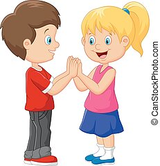 Cartoon children hand clapping game - Vector illustration of...