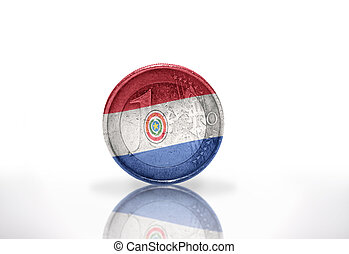 euro coin with paraguayan flag on the white background