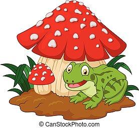 Cartoon frog basking under mushroom - Vector illustration of...