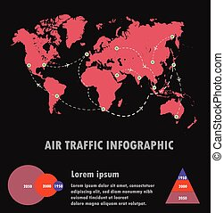 Airline traffic on world and infographic,air traffic vector.