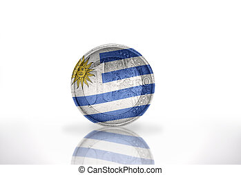euro coin with uruguayan flag on the white background