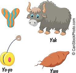 Cartoon Y alphabet - Vector illustration of Cartoon Y...